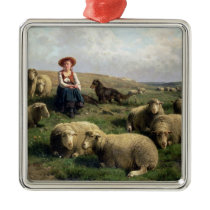 Shepherdess with Sheep in a Landscape Metal Ornament