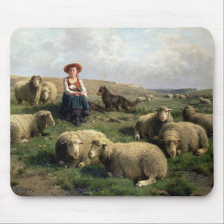 Shepherdess with Sheep in a Landscape Mouse Pad