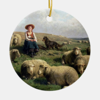 Shepherdess with Sheep in a Landscape Double-Sided Ceramic Round Christmas Ornament