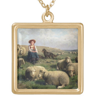 Shepherdess with Sheep in a Landscape Square Pendant Necklace