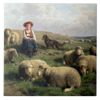 Shepherdess with Sheep in a Landscape Large Square Tile