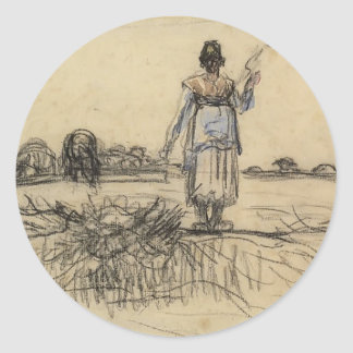 Shepherdess with the distaff by Jean Millet Round Stickers