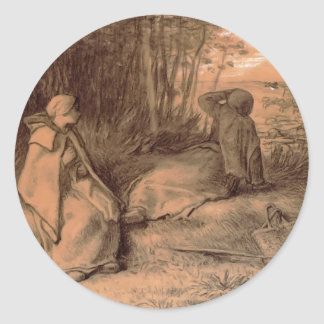 Shepherdesses Seated In The Shade by Jean Millet Stickers