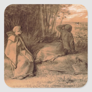 Shepherdesses Seated In The Shade by Jean Millet Square Sticker