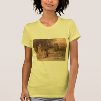 Shepherdesses Seated In The Shade by Jean Millet Tshirts