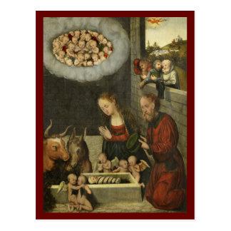 Shepherds Adoring Baby Jesus by Cranach Postcard