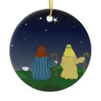 Shepherds in the Fields Ceramic Ornament