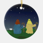 Shepherds in the Fields Double-Sided Ceramic Round Christmas Ornament