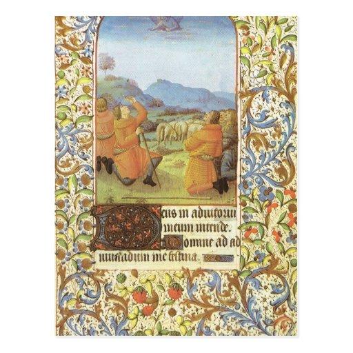 Shepherds on a Bethlehem hillside medieval Postcard