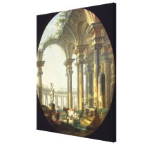 Shepherds with Animals in a Classical Landscape Canvas Print