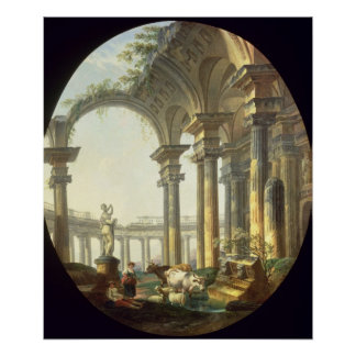 Shepherds with Animals in a Classical Landscape Poster