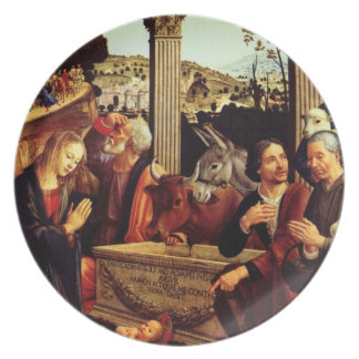 Shepherds Worship Baby Jesus Melamine Plate