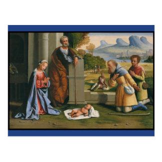 Shepherds Worship Infant Jesus Postcard