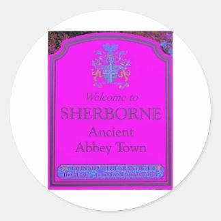sherborne pink classic round sticker