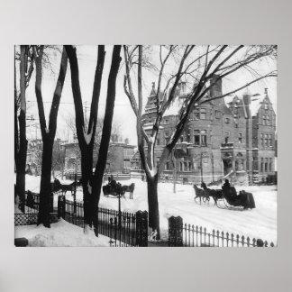 Sherbrooke Street in winter, Montreal Notman - Poster