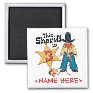 Sheriff 3rd Birthday 2 Inch Square Magnet