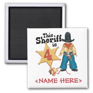 Sheriff 4th Birthday 2 Inch Square Magnet