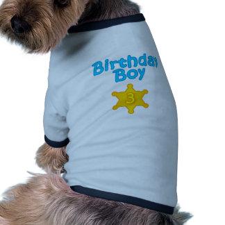 Sheriff Birthday Boy 3 Doggie Tshirt
