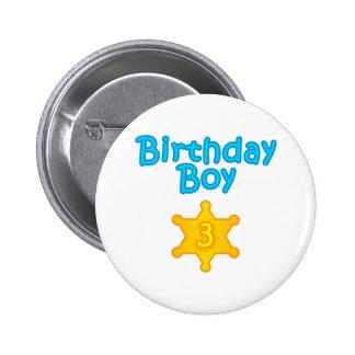 Sheriff Birthday Boy 3 Pinback Button