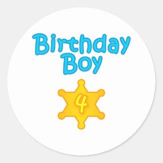 Sheriff Birthday Boy 4 Classic Round Sticker