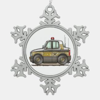 Sheriff Car Patrol Car Snowflake Pewter Christmas Ornament