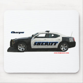 Sheriff_Charger_Black_White_Texturized. Mouse Pad