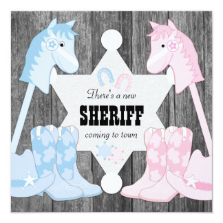 Sheriff Cowboy Gender Reveal Card