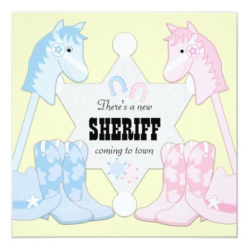 Sheriff Cowboy Gender Reveal Invites