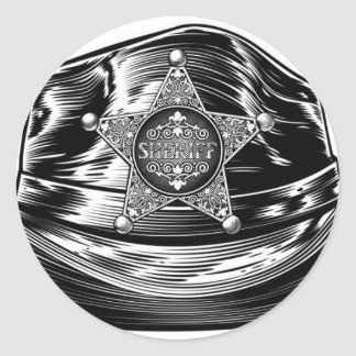 Sheriff Cowboy Hat with Star Badge Classic Round Sticker