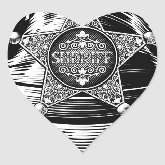 Sheriff Cowboy Hat with Star Badge Heart Sticker