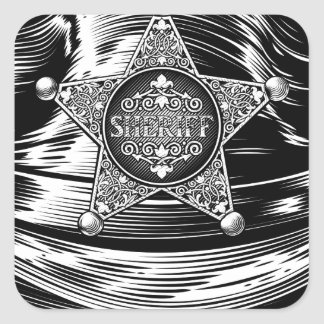 Sheriff Cowboy Hat with Star Badge Square Sticker