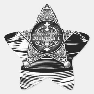 Sheriff Cowboy Hat with Star Badge Star Sticker