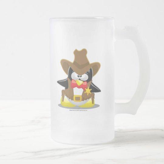 Sheriff Cowboy Penguin Frosted Glass Beer Mug