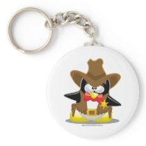 Sheriff Cowboy Penguin Keychain