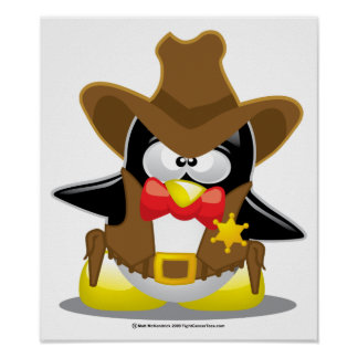 Sheriff Cowboy Penguin Poster
