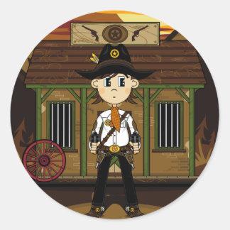 Sheriff del vaquero en el pegatina de la cárcel