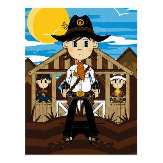 Sheriff del vaquero y postal de los Gunslingers