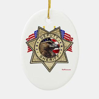 Sheriff Deputy Badge Ceramic Ornament