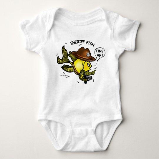 SHERIFF FISH - funny cute Sparky Cartoon Baby Bodysuit