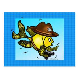 SHERIFF FISH - funny cute Sparky Cartoon Postcard