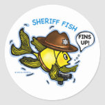 SHERIFF FISH - funny cute Sparky Cartoon Stickers