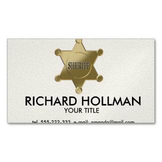 Sheriff golden star business card magnet