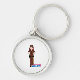 Sheriff - Light/Red Silver-Colored Round Keychain