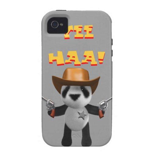 Sheriff lindo de la panda del bebé 3d iPhone 4 fundas