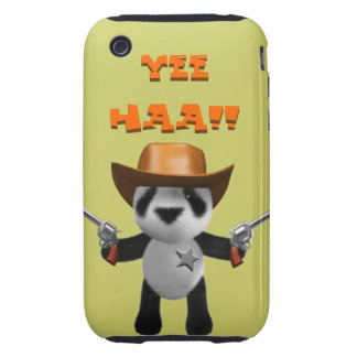 Sheriff lindo de la panda del bebé 3d iPhone 3 tough cárcasas