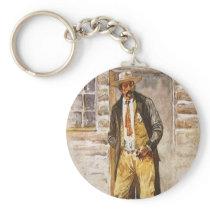 Sheriff Portrait by Seltzer, Vintage West Cowboy Keychain