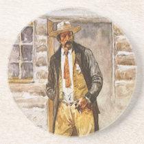 Sheriff Portrait by Seltzer, Vintage West Cowboy Sandstone Coaster