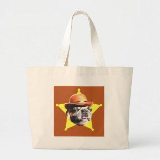 Sheriff Pug Large Tote Bag