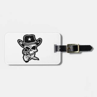 Sheriff Skull With Pistol Luggage Tag
