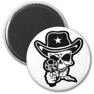 Sheriff Skull With Pistol Magnet